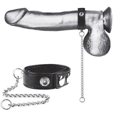 Blue Line Snap Cock Ring With Leash, черное Кольцо на пенис из экокожи с поводком из металла lola toys discovery nurse телесная сменная насадка для вакуумной помпы