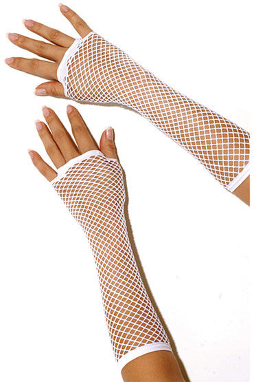 Electric Lingerie перчатки, белые Длинные, в сеточку стек металлический с круглым кожаным наконечником leather circle tipped metal crop черный