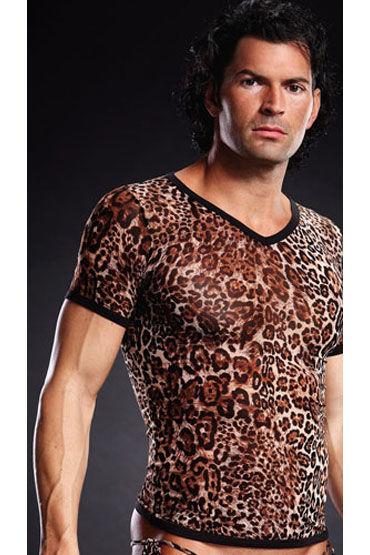 Blue Line футболка, леопардовая С V-образным вырезом пуловер большого размера с v образным вырезом из тонкого трикотажа