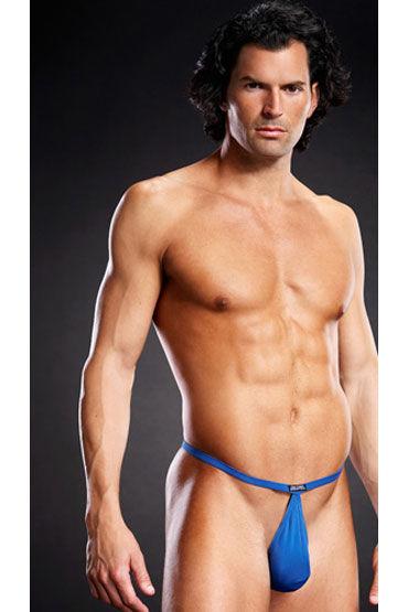 Blue Line pouch V-стринги, голубые В форме мешочка на тонких резиночках blue line v стринги черные с декоративными металлическими кольцами