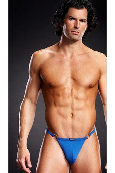 BlueLine V-стринги, голубые С декоративными металлическими кольцами мужские синие pouch v стринги