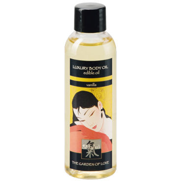 Shiatsu Luxury Body Oil Vanilla, 100 мл Съедобное масло с ароматом ванили съедобный лубрикант shiatsu с ароматом ванили 75 мл
