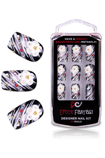 Erotic Fantasy Passions Wind Черно-белые типсы со стразами erotic fantasy black dots типсы для ногтей из акрила