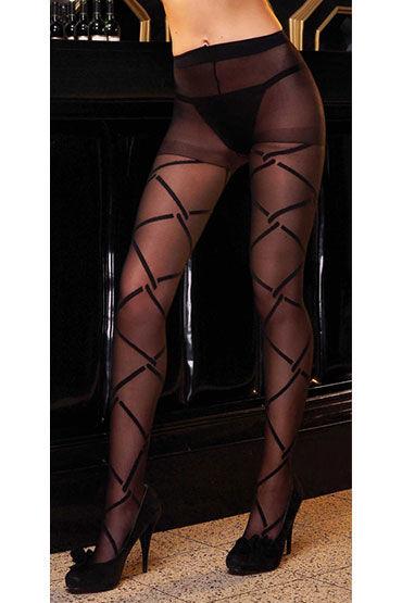 Electric Lingerie колготки С геометрическим рисунком fever fishnet hold ups с кружевной резинкой черные чулки в сетку
