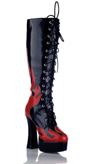 Electric Lingerie Shoes сапоги, черные С красными языками пламени bonpoint черные полусапожки из лаковой кожи
