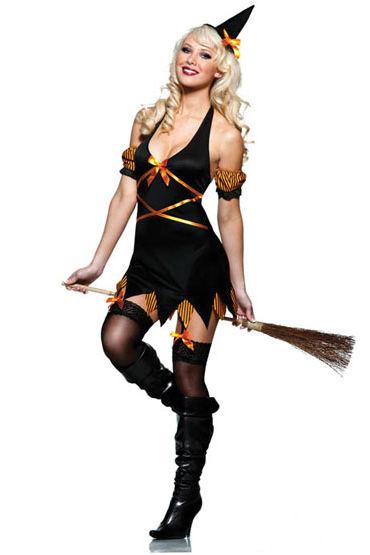 Seven til Midnight Salem Костюм сексуальной ведьмочки платьице have fun princess черное из узорчатой ткани с кружевным бюстье