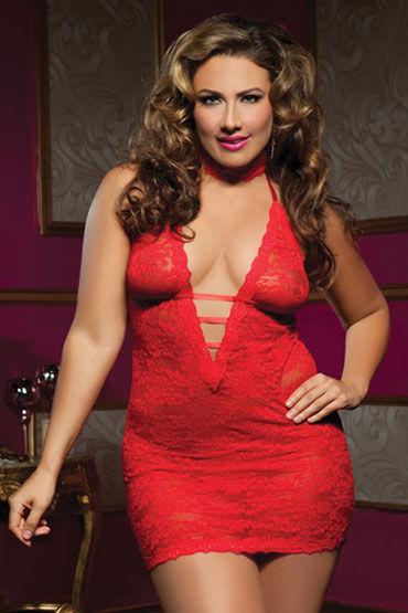 Seven til Midnight комплект, красный Ажурное платье с глубоким декольте и стринги