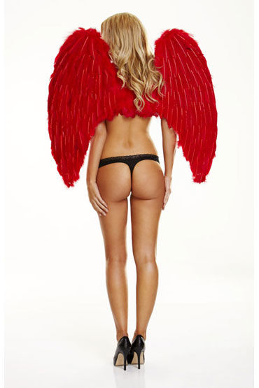 Electric Lingerie Red Love Крылья из натурального пуха и перьев к lovense hush small