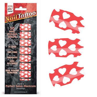 Erotic Fantasy Nail Tattoo, белые сердечки Набор лаковых полосок для ногтей erotic fantasy black dots типсы для ногтей из акрила