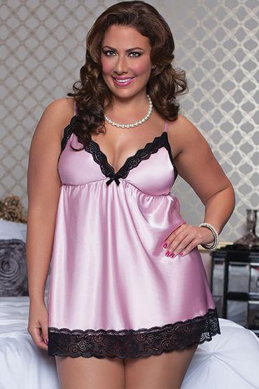 Seven til Midnight комплект, розовый Атласный бэби-долл и стринги сша миллс meimier pink lady сексуальная сорочка с ремешком