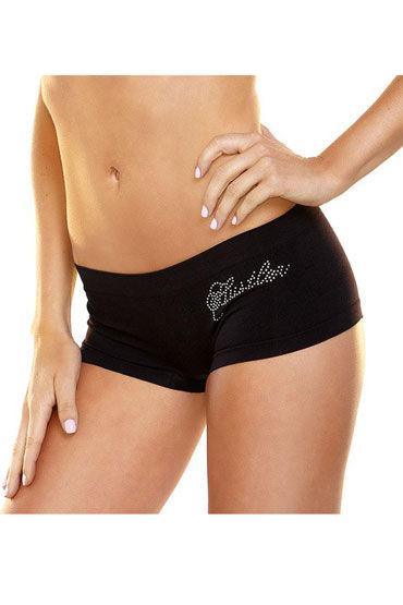 Hustler Lingerie Трусики-шортики, черные С надписью из страз pin инь взрослые продукты прозрачны пижамы форма сексуальное нижнее белье костюм соблазн строп белье сексуальное