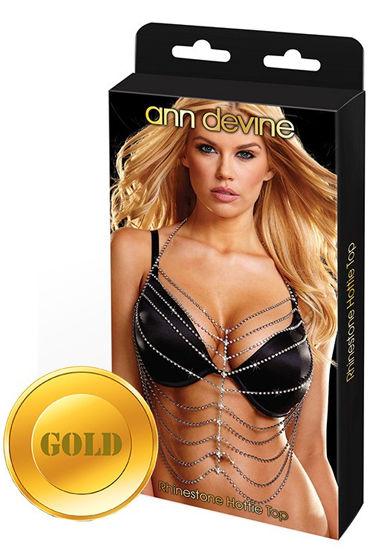 Ann Devine Phinestone Hottie Top, золотой Украшение на тело из кристаллов ann devine rhinestone classic choker золотой широкий ошейник из кристаллов