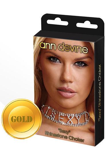 Ann Devine Sexy Phinestone Choker, золотой Ошейник с игривой надписью rose choker neck lace up sexy bikini set
