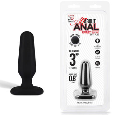Erotic Fantasy All About Anal Butt Plug, черный, 6,5 см Анальный плаг из ультра бархатистого силикона 35mm pyrex glass butt plug anal dildo beads crystal vagina balls fake penis female masturbate for women men gay adult sex toy