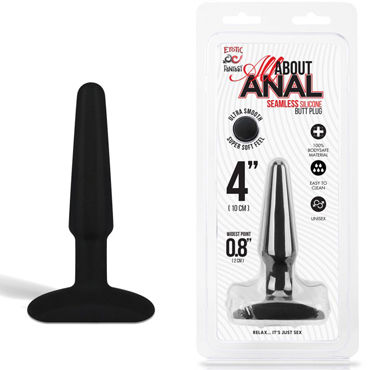 Erotic Fantasy All About Anal Butt Plug, черный, 9 см Анальный плаг из ультра бархатистого силикона 35mm pyrex glass butt plug anal dildo beads crystal vagina balls fake penis female masturbate for women men gay adult sex toy