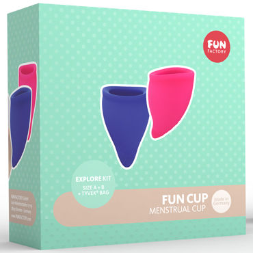 Fun Factory Fun Cup Explore Kit, розовая/синяя Набор менструальных чаш new man silicone vagina real aircraft cup male masturbator small artificial pocket pussy penis pump toys adult fun sex products for men