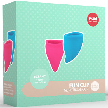 Fun Factory Fun Cup Size A, розовая и голубая Набор менструальных чаш new man silicone vagina real aircraft cup male masturbator small artificial pocket pussy penis pump toys adult fun sex products for men