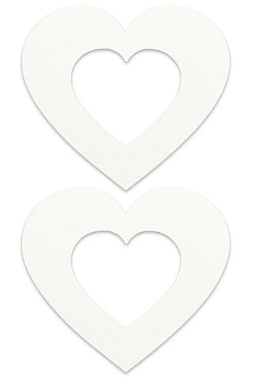 Shots Toys Nipple Sticker Open Hearts, белые Пэстисы в форме сердечек, с отверстиями для сосков з x play queen of hearts красный