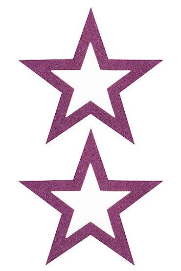 Shots Toys Nipple Sticker Open Stars, фиолетовый Пэстисы в форме звездочек, с отверстиями для сосков