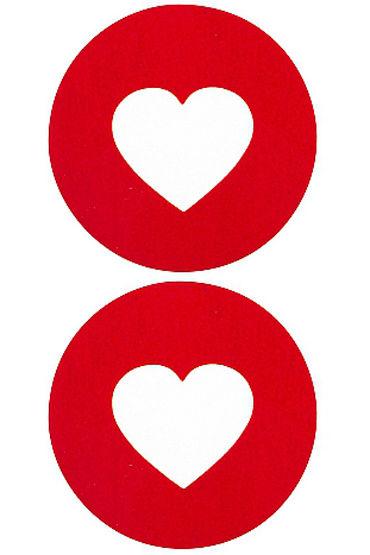 Shots Toys Nipple Sticker Round Open Hearts, красные Пэстисы в форме кругов, с отверстиями в форме сердечек