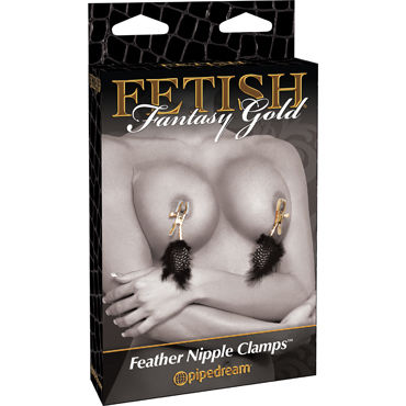 Pipedream Fetish Fantasy Gold Nipple Clamps Зажимы с перьями на соски и howells ball banger cock ring розовое