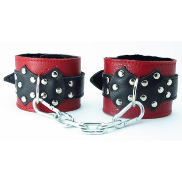 BDSM Арсенал кожаные наручники с натуральным мехом и пряжкой, красно-черные На регулируемых ремешках о hot exxtreme power caps 5 капсул