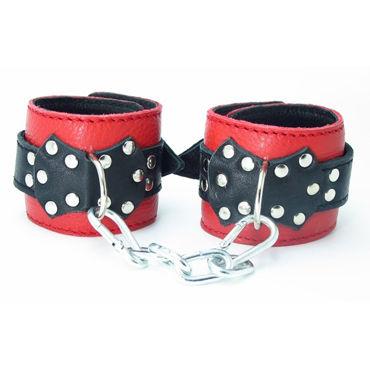 BDSM Арсенал кожаные наручники с пряжкой, красно-черные На регулируемых ремешках подвеска modis modis mo044dwbgha5