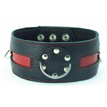 BDSM Арсенал ошейник с заклепками, черно-красный С тремя кольцами для карабинов bdsm арсенал ошейник с кольцом для поводка черно красный декорирован шипами