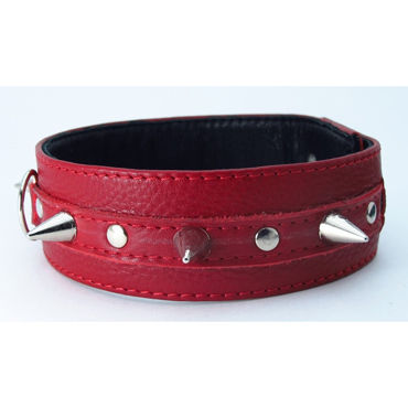 BDSM Арсенал ошейник с кольцом для поводка, красный Декорирован шипами podium стек 70 см черно красный наконечник кисточка 20 см лакированный