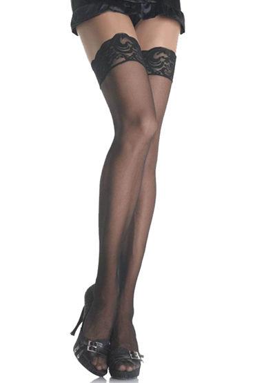 Dupu Чулки с силиконовой резинкой Декорированы кружевом комбинезон dupu с глубоким вырезом черный os