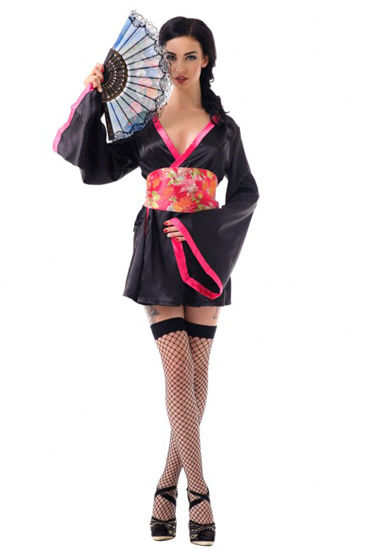 Le Frivole Азиатская соблазнительница Кимоно, пояс, веер, чулки костюм сексуальной прислуги le frivole costumes костюм сексуальной прислуги