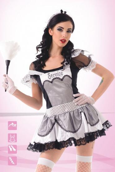 Le Frivole Старательная домработница Платье, головной убор, перчатки, чулки le frivole секси горничная платье головной убор воротник манжеты перчатки и чулки