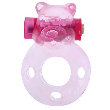 Baile Pink Bear Эрекционное кольцо с вибрацией toyfa насадка розовая с шариками и щеточкой