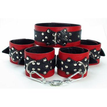 BDSM Арсенал комплект, красно-черный Ошейник, наручники и наножники bdsm арсенал комплект фиксаторов коричневый ошейник наручники и наножники