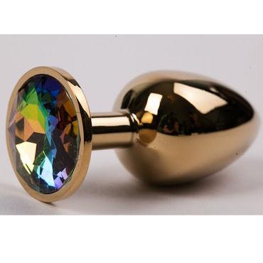 Luxurious Tail Металлическая анальная пробка, золотая С радужным стразом kanikule средняя анальная пробка розовая с радужным кристаллом
