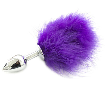 Luxurious Tail Анальная пробка с хвостиком, фиолетовый Металлическая пикантные штучки маленькая анальная пробка золотая с пушистым фиолетовым хвостиком