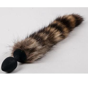 Luxurious Tail Анальная пробка с полосатым хвостом, черная Силиконовая wild lust анальная пробка 6 см черно зеленая с лисьим хвостом