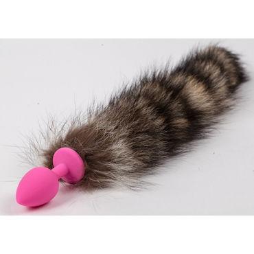 Luxurious Tail Анальная пробка с полосатым хвостом, розовая Силиконовая bio special 200 мл для анального секса