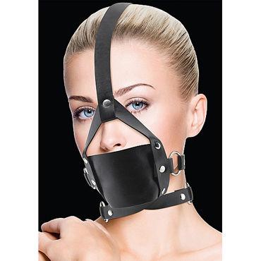 Ouch! Leather Mouth Gag, черный БДСМ маска ouch subjugation mask черная маска на лицо