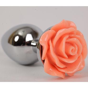 Luxurious Tail Анальная пробка, серебристая Малая, с оранжевой розой luxurious tail анальная пробка розовая с красным кристаллом