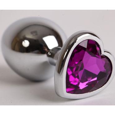Luxurious Tail Анальная пробка, серебристая Средняя, с фиолетовым сердечком lovetoy metal сиреневая сиреневая втулка с прозрачным кристаллом
