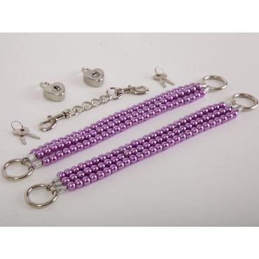 White Label Наножники, сиреневые Жемчужные из трех нитей white label наручники красные жемчужные из трех нитей
