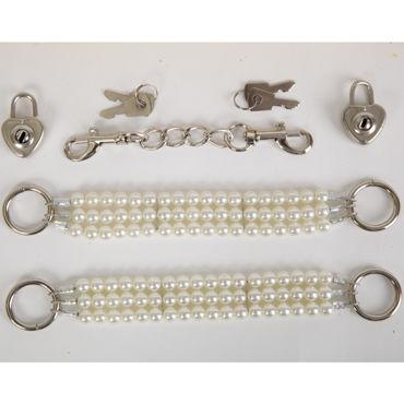 White Label Наручники, белые Жемчужные из трех нитей л стимуляторы простаты mif