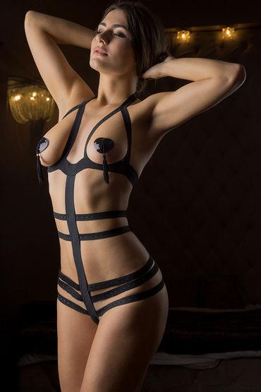 Mens dreams Эротический костюм, черный Боди из эластичных лент shots toys nipple sticker butterfly фиолетовые пэстисы в форме бабочек
