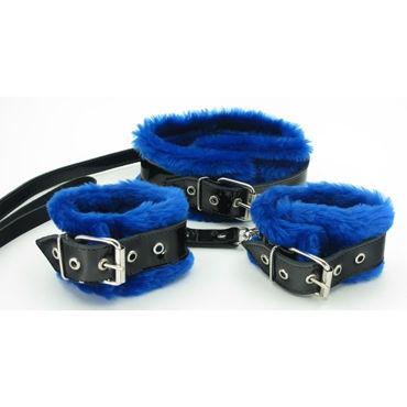BDSM Арсенал Ошейник и наручники с синим мехом Лаковая кожа satisfyer pro heads 5 шт набор дополнительных насадок для satisfyer pro 2