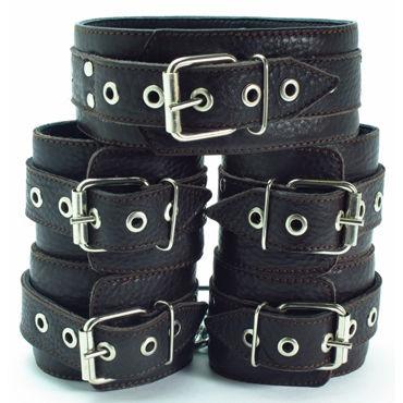 BDSM Арсенал Комплект фиксаторов с мягкой подкладкой, коричневый Ошейник, наручники и наножники bdsm арсенал комплект фиксаторов коричневый ошейник наручники и наножники