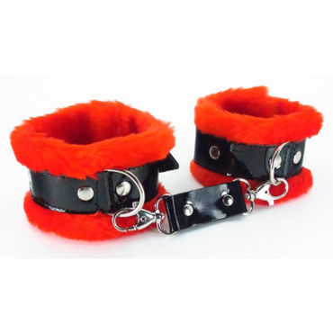 BDSM Арсенал Наручники с красным мехом Лаковая кожа