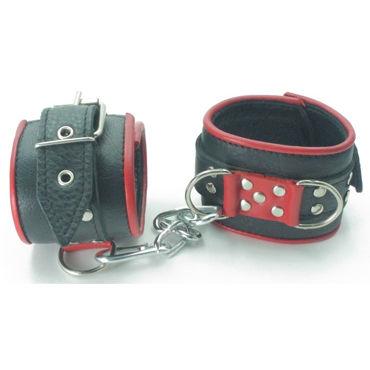 BDSM Арсенал Наручники широкие, черно-красные С карабинами baile вибратор с тремя источниками вибрации