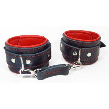 BDSM Арсенал Оковы с мягкой подкладкой, красно-черные С контрастной строчкой оковы черные