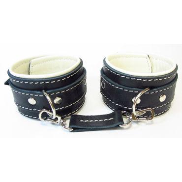 BDSM Арсенал Оковы с мягкой подкладкой, бежево-черные С контрастной строчкой оковы черные
